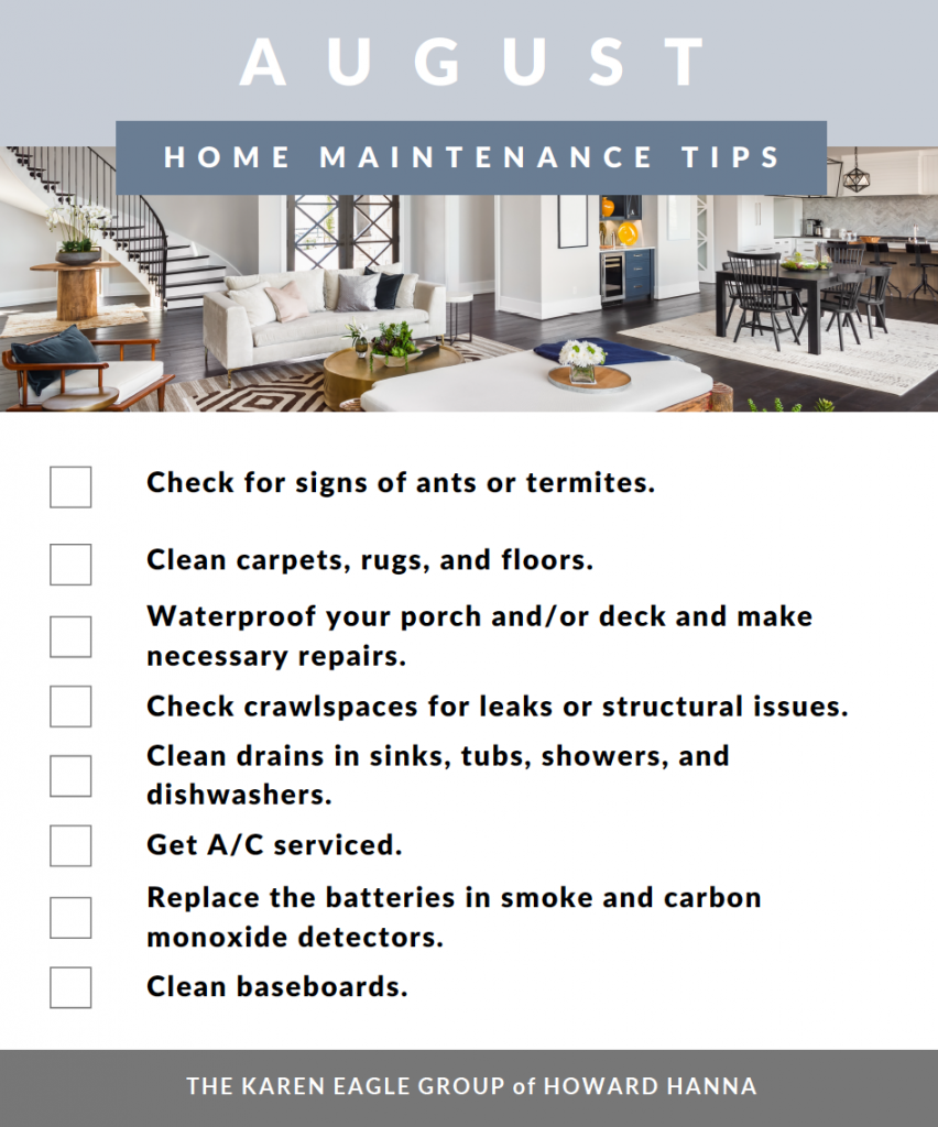 August home maintenance tasks